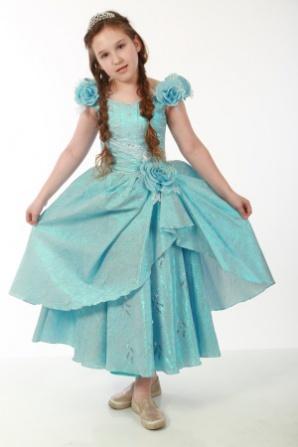 Платье парча голубое