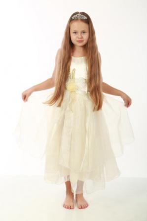 Платье кремовое корсет