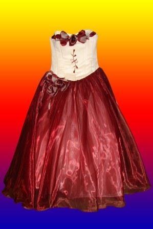 Платье кремово-вишневое корсет открытое
