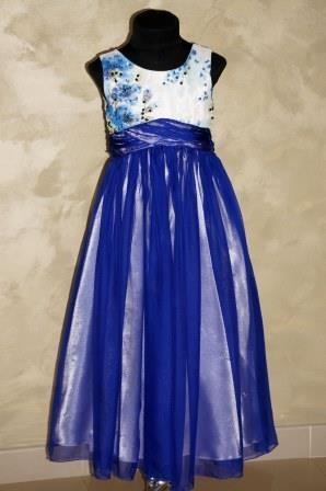 Платье бело-синее с завышеной талией
