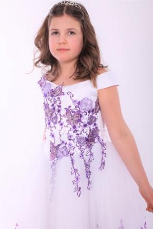 Платье белое с фиолетовым, бабочки