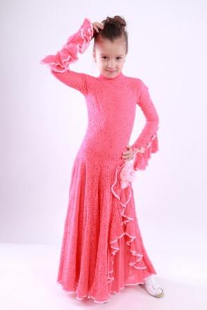 Платье для бальных танцев коралловое