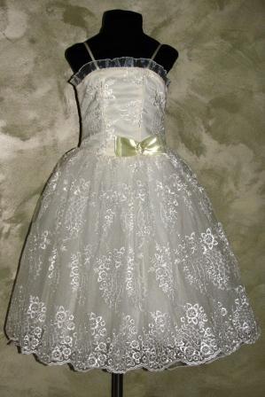 Платье кремовое гипюр на бретелях